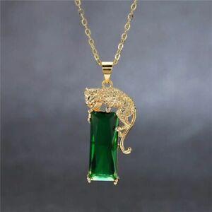 925-Silber-Damen-Halskette-Rchteck-Zirkonia-Stein-Anhaenger-Gruen-Gold-Leopard-Neu