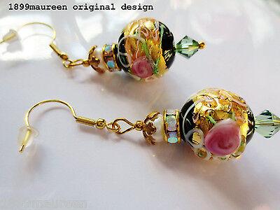 Tudor style Venetian glass earrings Renaissance Art Nouveau Art Deco pearl gold