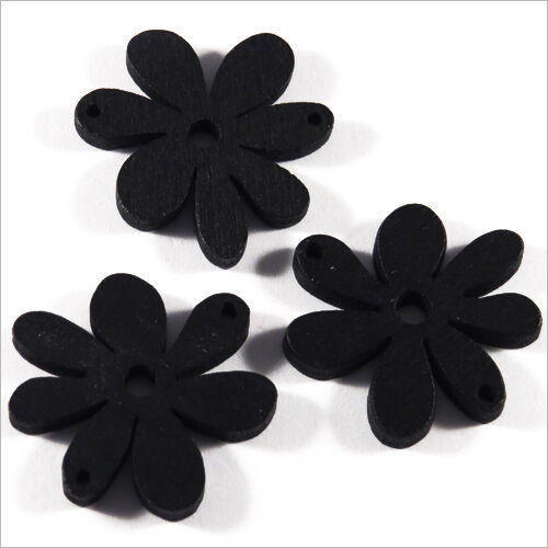 Lot of 10 Flowers Beads wooden 25mm Black