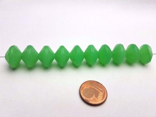 10 Pièces Séquoia à facettes vaseline Perles De Verre Vert Opaque