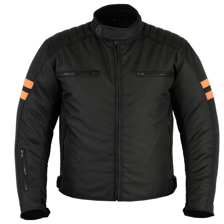 Chaqueta de moto, Biker Textil NARANJA-NEGRO, hombre negro NUEVO