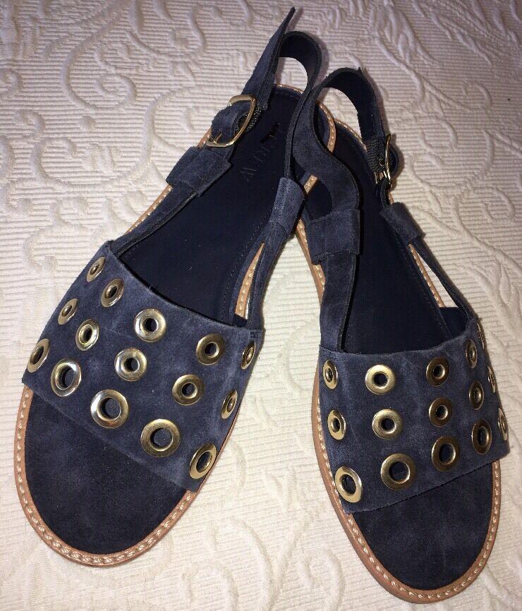 J Crew 7.5 Suede Slingback Sandals e7663 bluee bluee bluee Suede Grommet Sandal NEW  128 2dc518