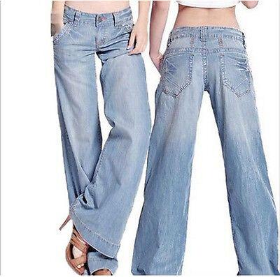 Light Blue Womens Cotton Wide Leg Flares Jeans Pants Plus Sexy Elegant Sz S-6XL