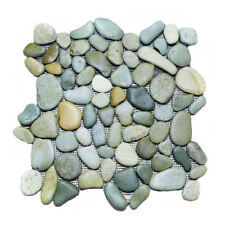 Glazed Green Earth Mix Pebble Stone Tile - Natural Rock - Floors Shower Bathroom