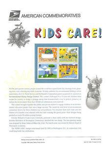 #455 32c Kids Care #2951-2954 USPS Commemorative Stamp Panel