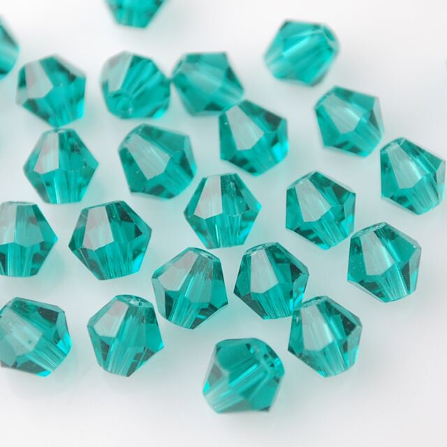 50pcs 6mm Bicone Faceted Crystal Glass Charms Loose Spacer Beads Peacock Green