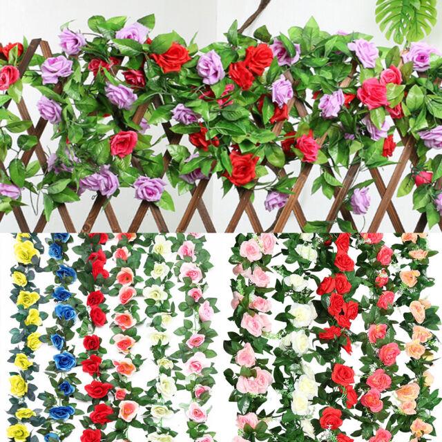 2* 8Ft Artificial Rose Garland Silk Flower Vine Ivy Wedding Garden String Decor.