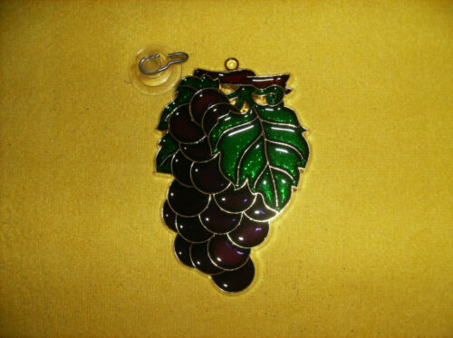 """NEW PURPLE GLITTERY GRAPES CLUSTER SUNCATCHER /& SUCTION CUP WALL PLAQUE 6/"""""""