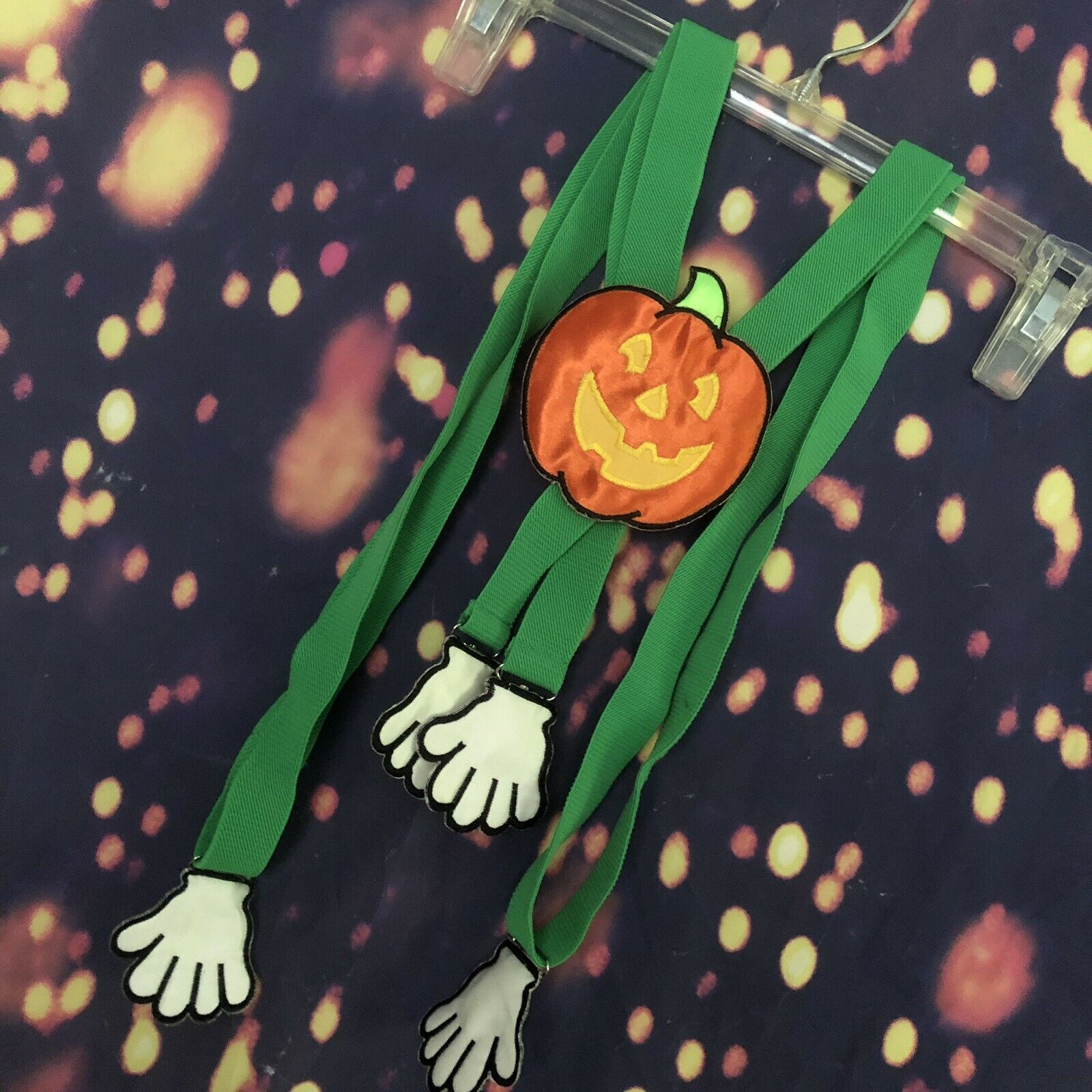 Rare Vintage ADJUSTABLE Pumpkin Jack o lantern SUSPENDERS arms Vines Hand Clips