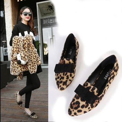 Women/'s pointed Leopard Automne Bow synthétique daim Ballet flat shoes
