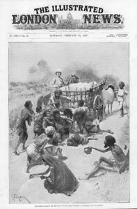 1897-Antique-Print-INDIA-Famine-Relief-Houses-Cart-Cattle-Road-Soldier-239