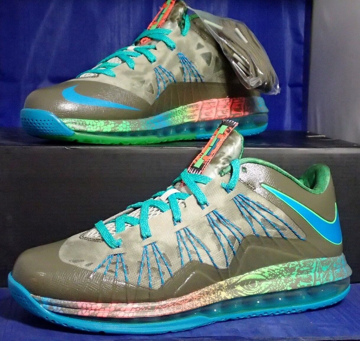 Nike Air Max Lebron X 10 Low SWAMP THING 11.5 US Reptile Cork South Beach Sample
