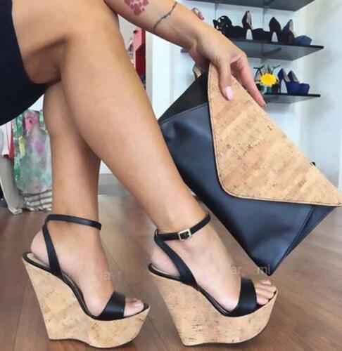 Women Wedge High Heels Platform Ankle Strap Sandals Pumps Sandals Shoes US4.5-12
