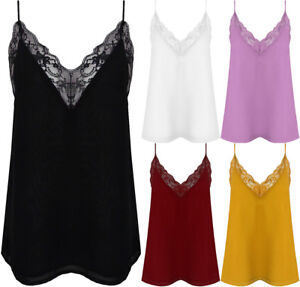 New-Lace-Trim-Strappy-V-Neck-Chiffon-Sheer-Cami-Party-Top-Vest-Blouse-Camisole
