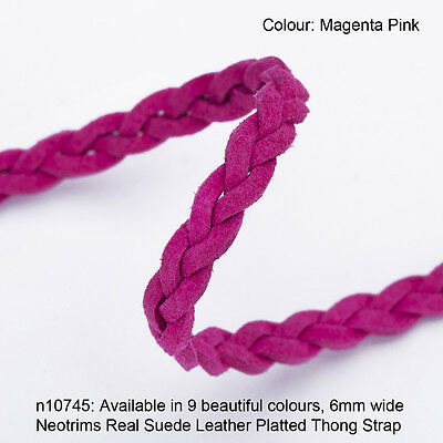 Neotrims 6mm REAL Leather Suede Platted Plaited Thong Trimming Cord Strong Strap