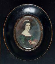 Miniatur Bildnis Portrait einer jungen Frau, Gouache Malerei, um 1880