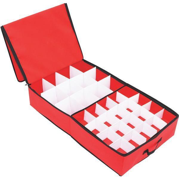 15  W X 5.5  H X 30  L Polyester Christmas 52 Ornament Storage Box 77017-1