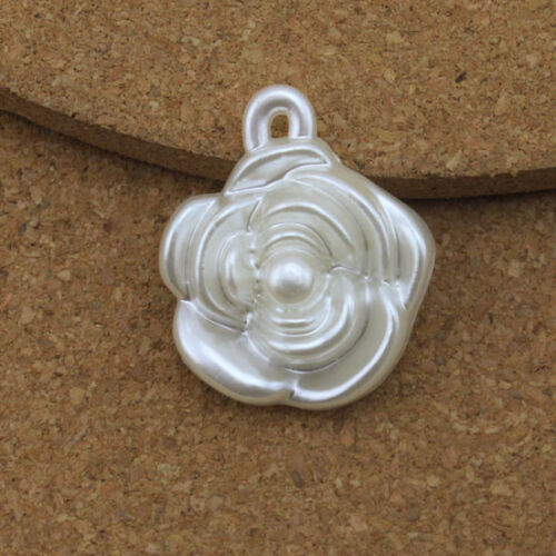 20pcs //lot 22*25mm Flower White ABS Simulated Pearl Bead Charms Pendant DIY