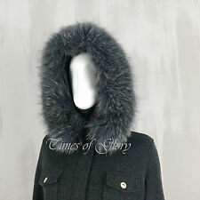 £6K Loro Piana BLUE FROST FOX Fur Cashmere Suede Short Coat Parka Jacket IT40 42