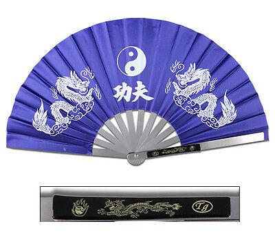 New Heavy Duty Steel Blue Dragon Kung Fu Tai Chi Fan