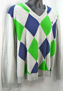 EXPRESS ARGYLE COTTON V-NECK SWEATER Pullover Top preppy knit top size XL
