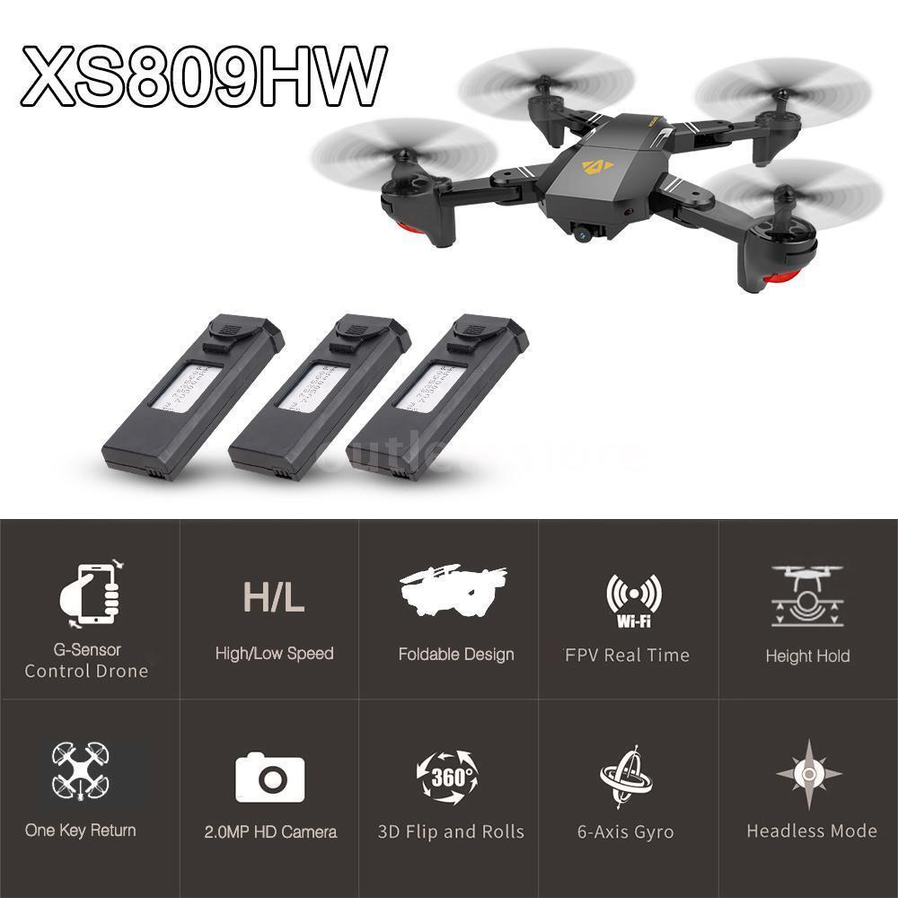 Visuo xs809hw rc quadcopter wifi fpv faltbaren selfie drohne 2mp 3 batterie j9k3
