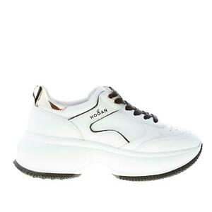 Details about HOGAN women shoes Maxi I Active white leather sneaker gold-tone detail