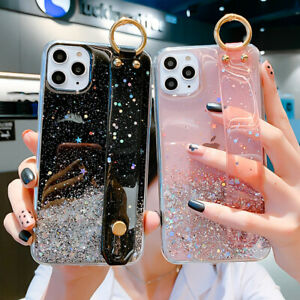 Clear-Bling-Star-Wrist-Strap-Sequin-Case-Cover-For-iPhone-11-Pro-Max-XS-XR-8-6-7