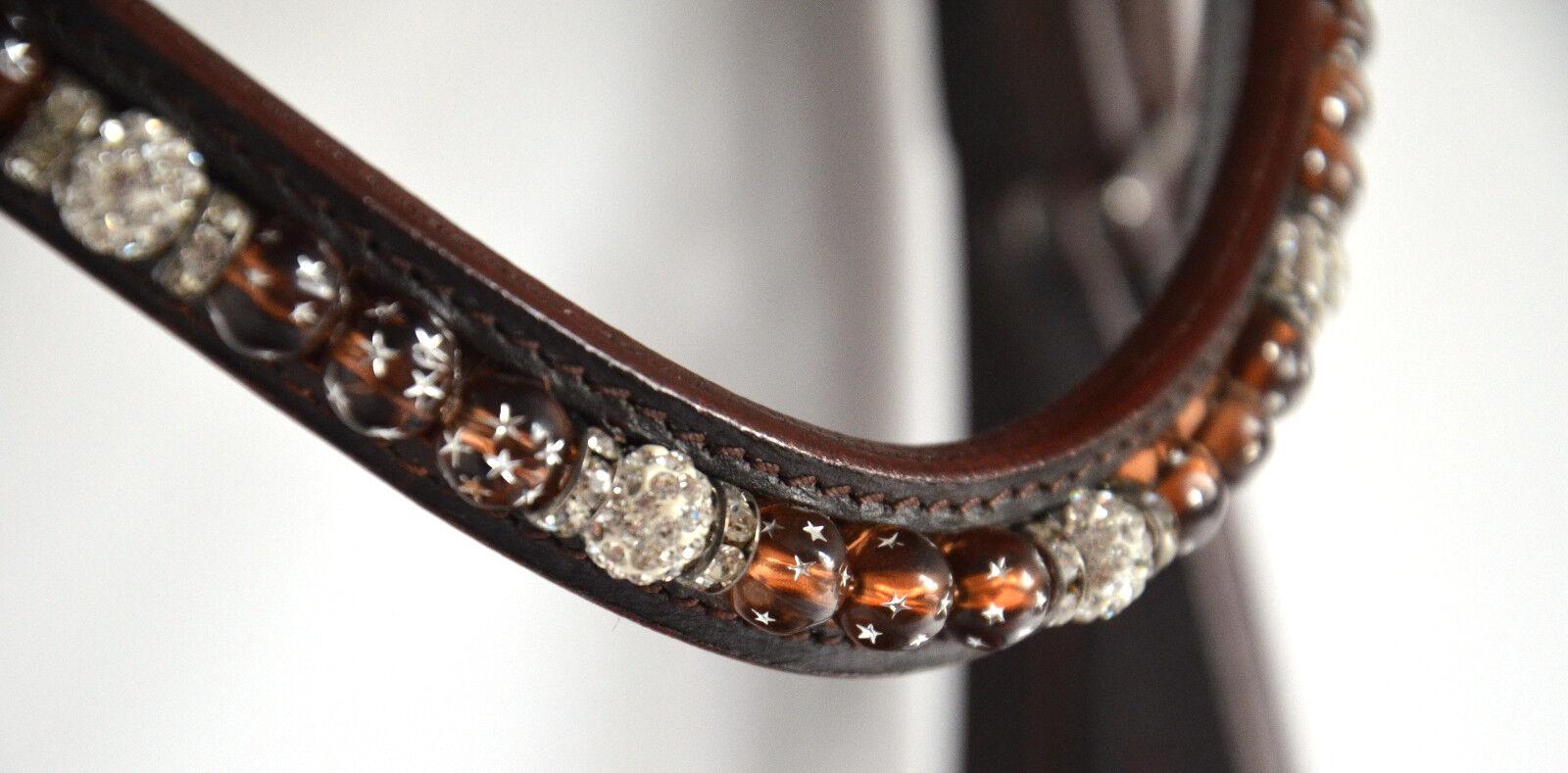 TRENSE, braun mit Perlen+Strass, Reithalfter schwed-kombiniert, Gr. Pony