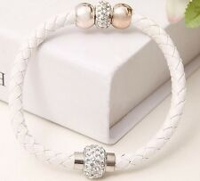 WHITE LEATHER DOUBLE SHAMBALLA, ROSE GOLD BEAD MAGNETIC BRACELET