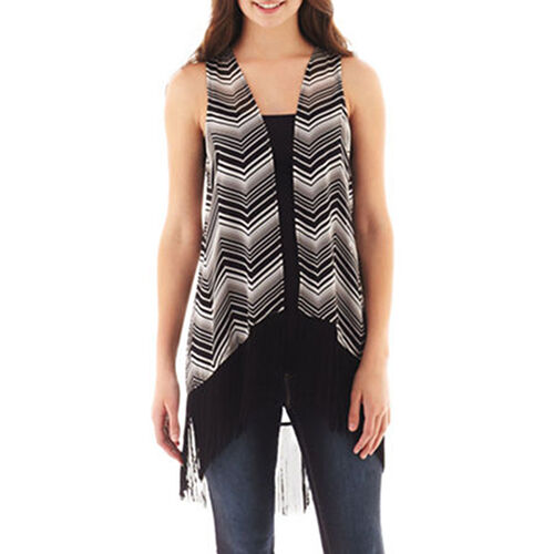 L Msrp $44 Love And Let Love Stony Sleeveless Chiffon Fringe Vest Size M