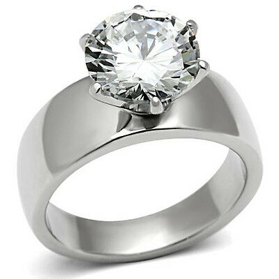 Women's 3.5 Carat Stainless Steel Big Solitaire CZ Engagement Ring Size 5-10