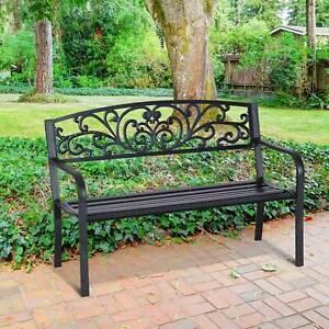 Patio Park Garden Bench Porch Path Chair Outdoor Lawn Garden Black 2 Seat