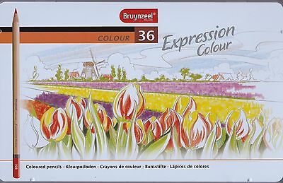 Bruynzeel Expression Colouring Pencils Gift Tin of 36 - Ideal for Art Therapy