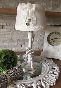 tischlampe lampenschirm 44 cm shabby chic landhaus stoff wei schleife vintage ebay. Black Bedroom Furniture Sets. Home Design Ideas
