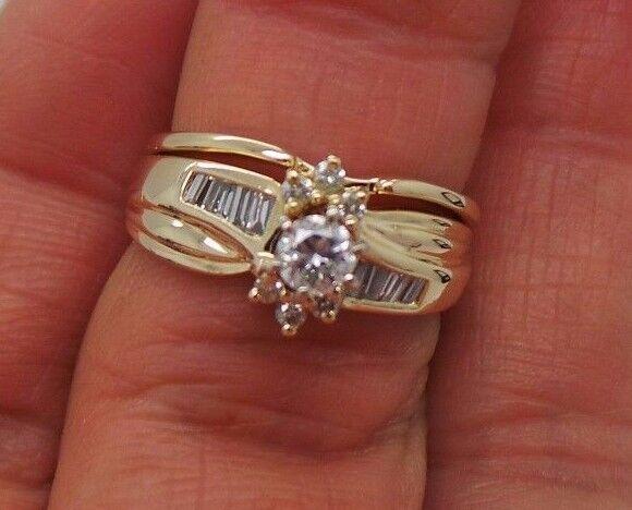 STUNNING 14K YG ROUND DIAMOND BRIDAL SET SIZE 6  .42 TCW  E15059-1  4.86 grams