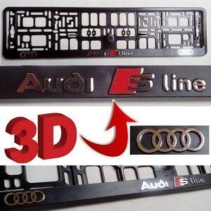 Image is loading Black-3D-AUDI-S-LINE-European-Euro-License- & Black 3D AUDI S LINE European Euro License Number Plate Holder Frame ...