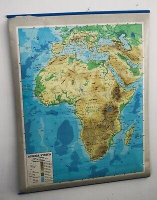 Cartina Geografica Africa Politica.Cartina Geografica Africa Fisica Politica Scolastica Scuola Mappa Anni 80 Ebay