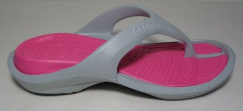 Crocs Size 6 ATHENS Light Grey Candy Pink Flip Flop Sandals New Womens Shoes