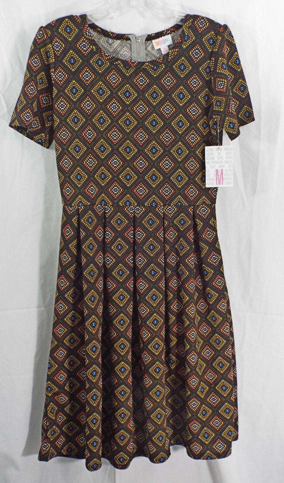 damen LuLaRoe Dress Medium Amelia schwarz Multi ColGoldt Geometric NWT
