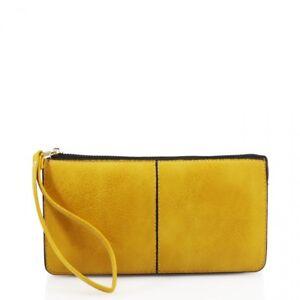 Clutch-style-flat-zip-round-purse-wallet-wristlet-purse-in-Mustard-Yellow