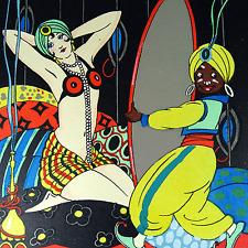 Art Déco Lithographie Orient Tänzerin Mata-Hari Mohr Kunst Bohéme um 1920er 30er