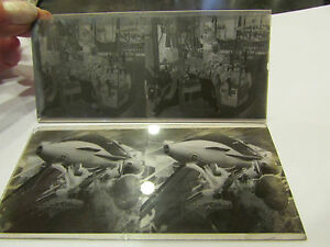 2-anciennes-plaques-verre-stereo-photo-fete-foraine-maneges-attractions