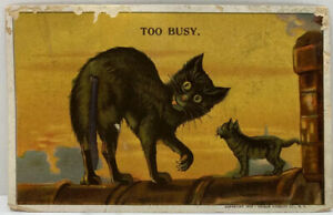Vintage-1912-Black-Cat-With-Spring-Tail-TOO-BUSY-Novelty-Postcard
