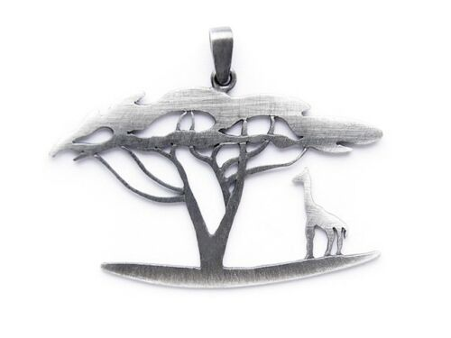 STERLING SILVER PENDANT OXIDIZED BAOBAB TREE AFRICA HANDCRAFTED GIFT IDEA 925