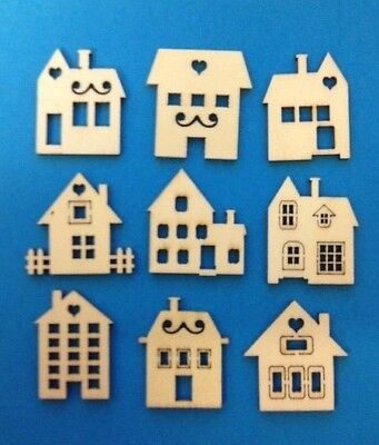 45 Small Natural Wooden HOUSES Shapes Embellishments Card Making Scrapbooking