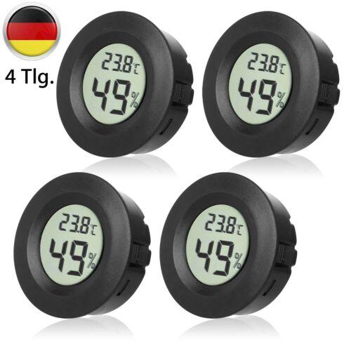 4 Stück Digital LCD Thermometer Hygrometer Temperatur Feuchtigkeitsmesser Rund