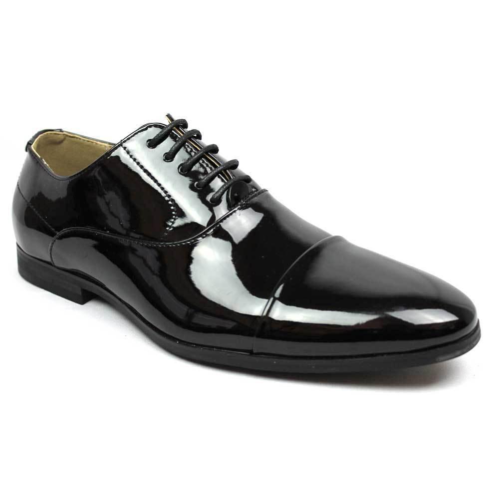 New Men's Black Tuxedo Cap Toe Lace Up Oxford Dress Shoes Shiny Patent By AZAR
