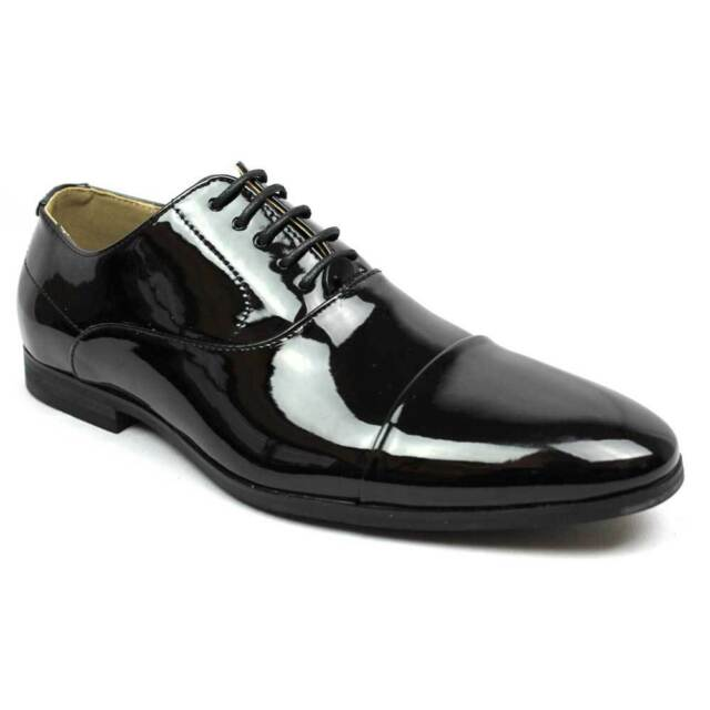 50fc99a9aed New Men s Black Tuxedo Cap Toe Lace Up Oxford Dress Shoes Shiny Patent By  AZAR