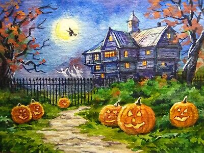 ACEO PRINT OF PAINTING RYTA HALLOWEEN SALEM WITCH SIGN HAUNTED HOUSE SPOOKY ART